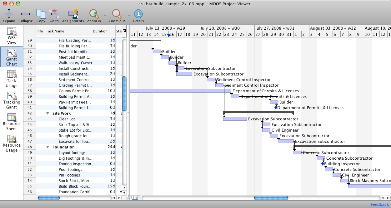 Ms project viewer for mac 1 1 bei freeware Schedule for building a house