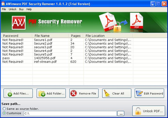 Batch PDF Security Remover bei Freeware-Download.com