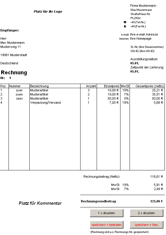 Rechnung bei Freeware-Download.com